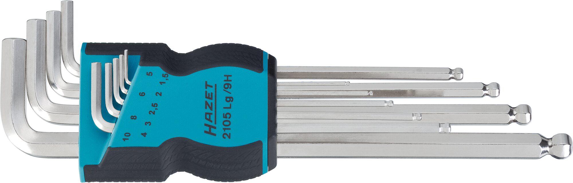 HAZET Winkelschraubendreher Satz 2105LG/9H ∙ Innen-Sechskant Profil ∙ 1.5–10 ∙ Anzahl Werkzeuge: 9