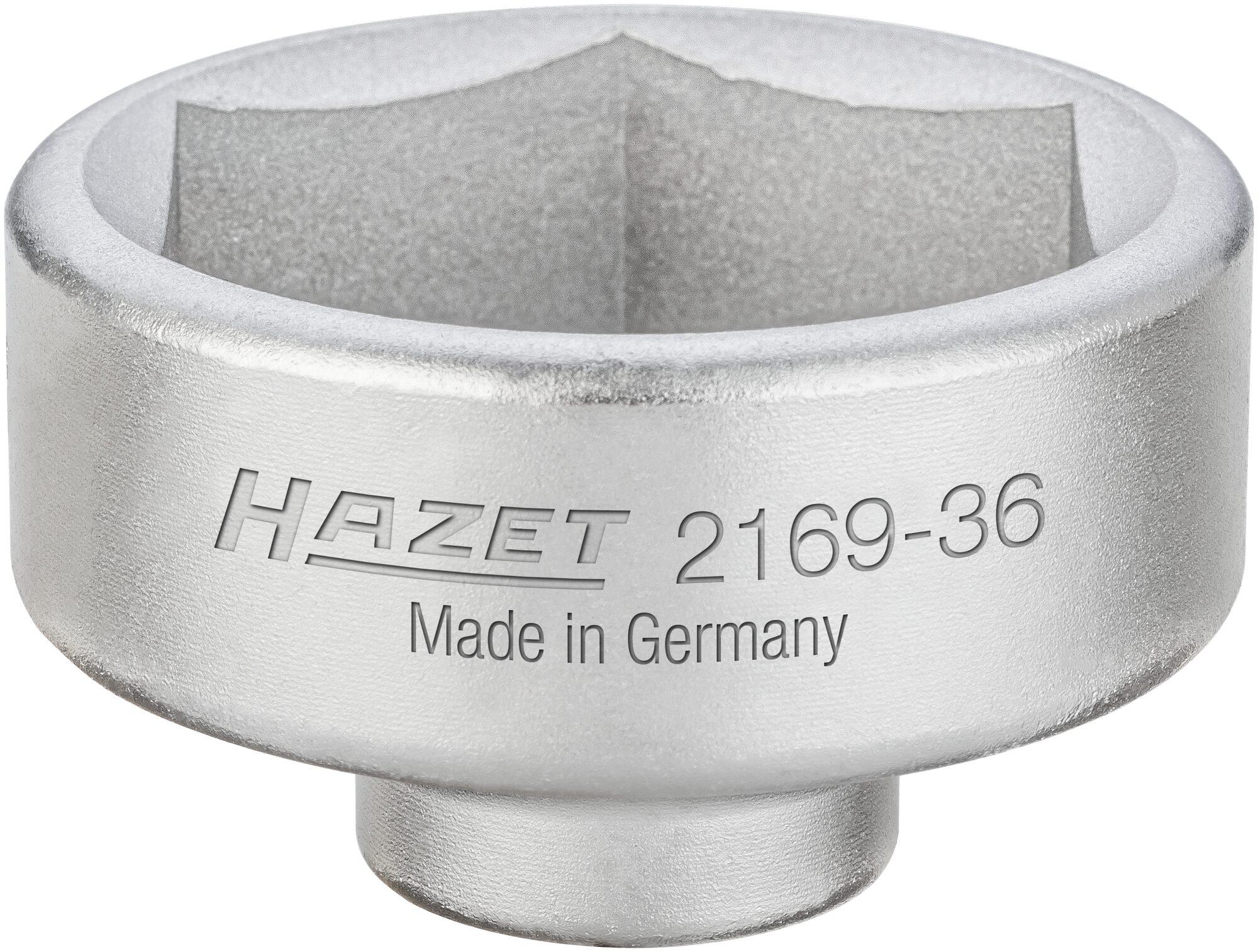 HAZET Ölfilter-Schlüssel 2169-36 ∙ Vierkant hohl 10 mm (3/8 Zoll) ∙ Außen-Sechskant Profil ∙ 50 mm