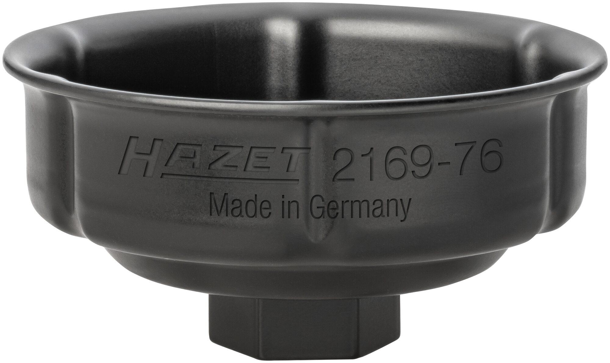 HAZET Ölfilter-Schlüssel 2169-76 ∙ Vierkant hohl 12,5 mm (1/2 Zoll) ∙ Rillenprofil ∙ 85 mm