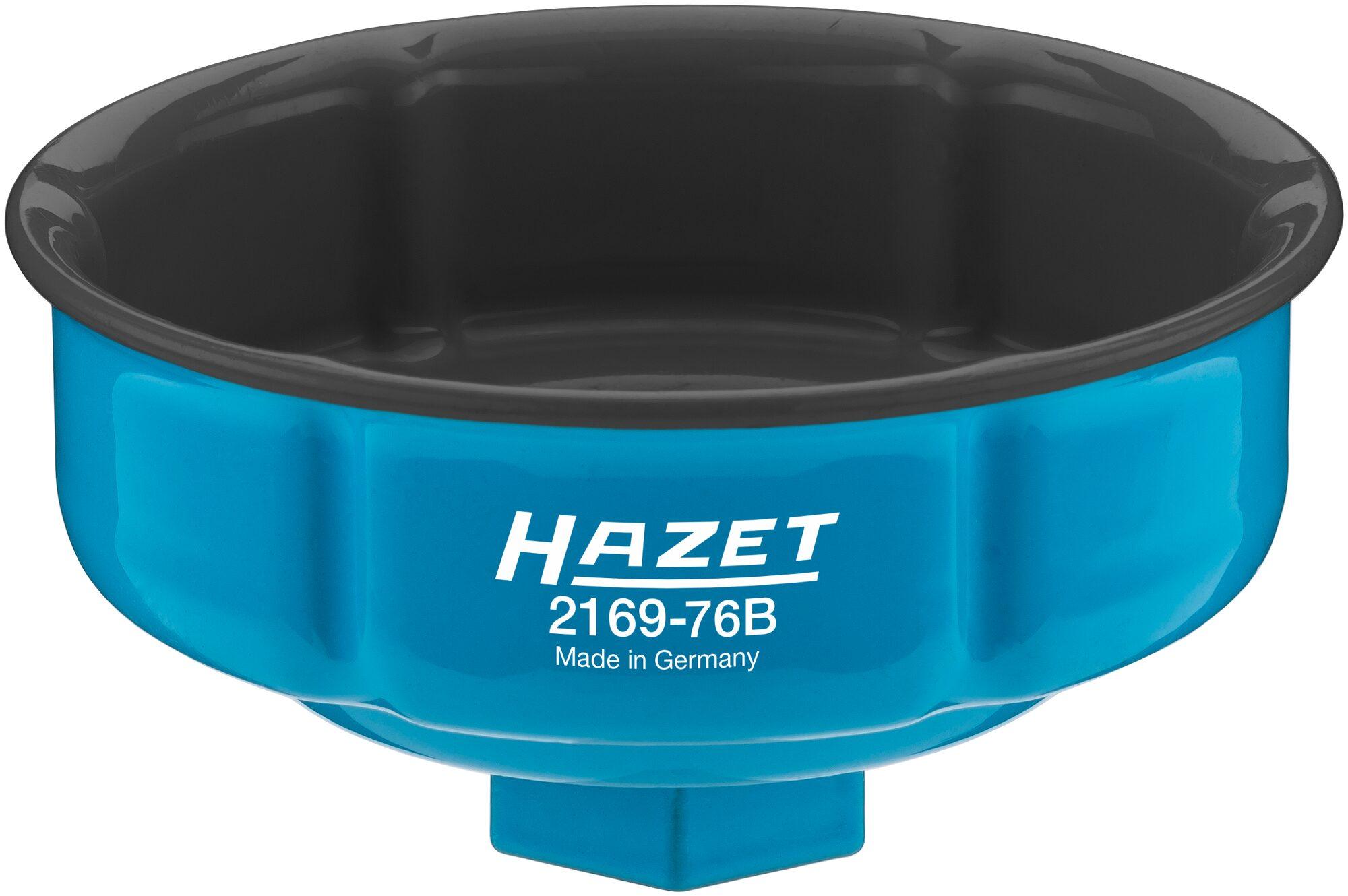 HAZET Ölfilter-Schlüssel 2169-76B ∙ Vierkant hohl 12,5 mm (1/2 Zoll) ∙ Rillenprofil ∙ 85.6 mm