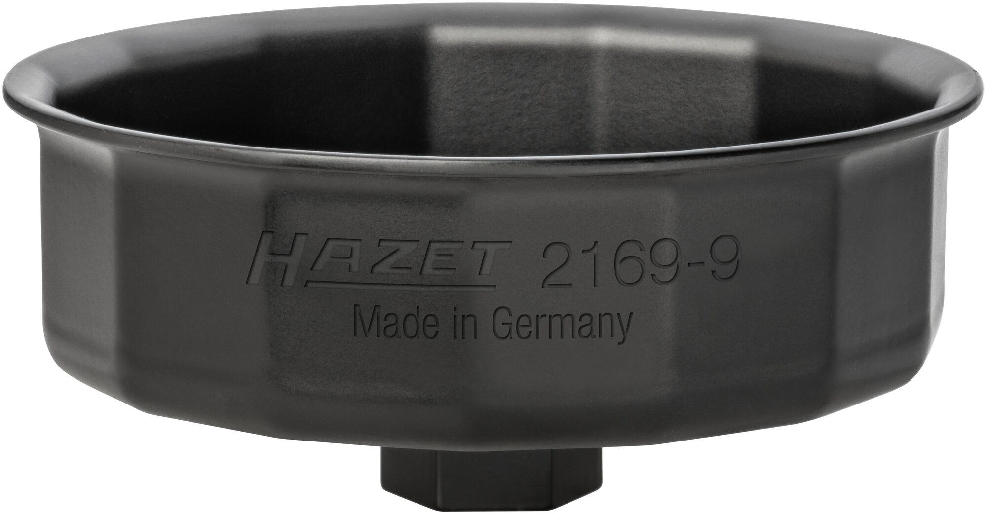 HAZET Ölfilter-Schlüssel 2169-9 ∙ Außen-Sechskant 24 mm, Vierkant hohl 12,5 mm (1/2 Zoll) ∙ Außen-15-kant Profil