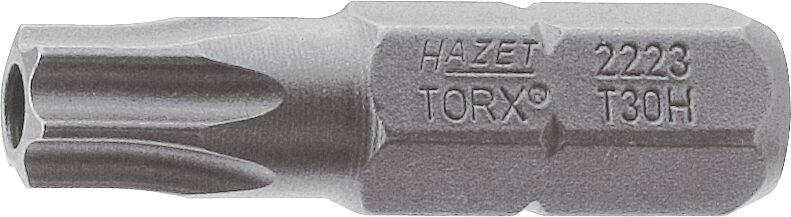 HAZET Bit 2223-T40H ∙ Sechskant massiv 6,3 (1/4 Zoll) ∙ Tamper Resistant TORX® Profil ∙ T40H