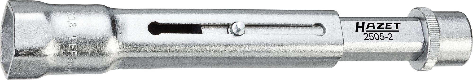 HAZET Zündkerzen-Schlüssel 2505-2 ∙ Vierkant hohl 10 mm (3/8 Zoll) ∙ Außen-Sechskant Profil ∙ 20.8 mm ∙ 13⁄16 ″