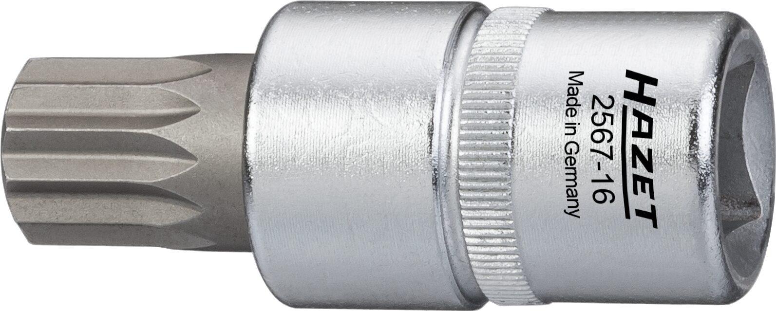 HAZET Öldienst Schraubendreher Steckschlüsseleinsatz 2567-16 ∙ Vierkant hohl 12,5 mm (1/2 Zoll) ∙ M16