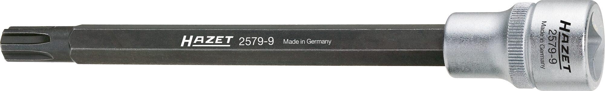 HAZET Zylinderkopf Schraubendreher-Steckschlüsseleinsatz 2579-9 ∙ Vierkant hohl 12,5 mm (1/2 Zoll) ∙ Polydrive Profil