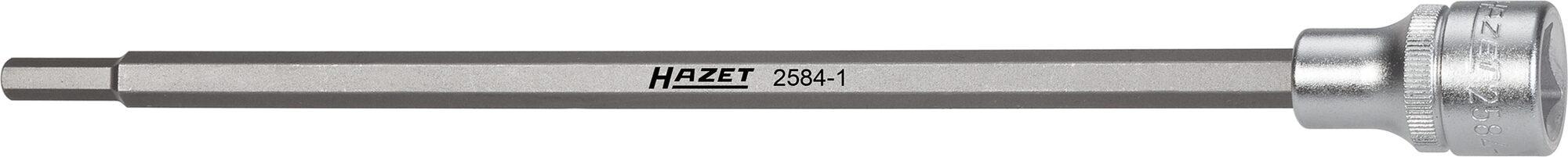 HAZET Saugrohr Schraubendreher-Steckschlüsseleinsatz 2584-1 ∙ Vierkant hohl 12,5 mm (1/2 Zoll) ∙ Innen-Sechskant Profil ∙ 6 mm