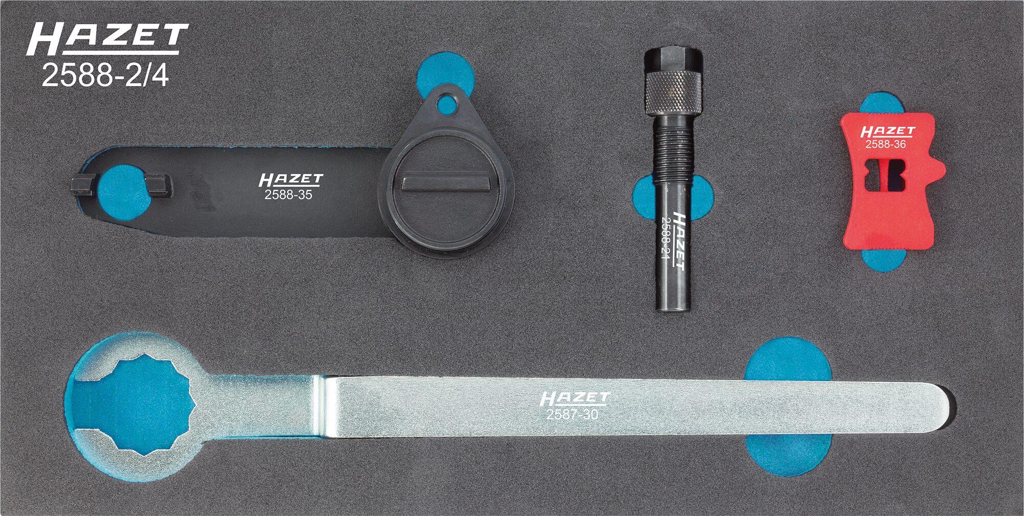 HAZET Motoreinstell-Werkzeug VW / SEAT / ŠKODA 2588-2/4 ∙ Anzahl Werkzeuge: 4