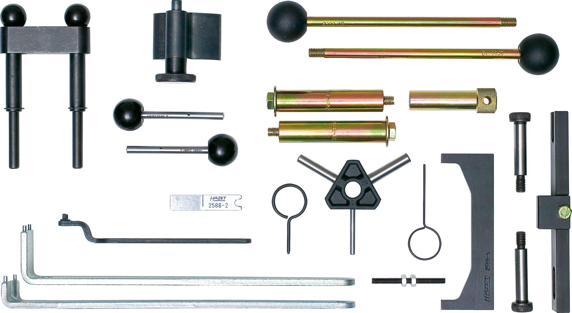 HAZET Motoreinstell-Werkzeug AUDI ∙ VW ∙ SEAT ∙ ŠKODA 2588/19 ∙ Anzahl Werkzeuge: 19