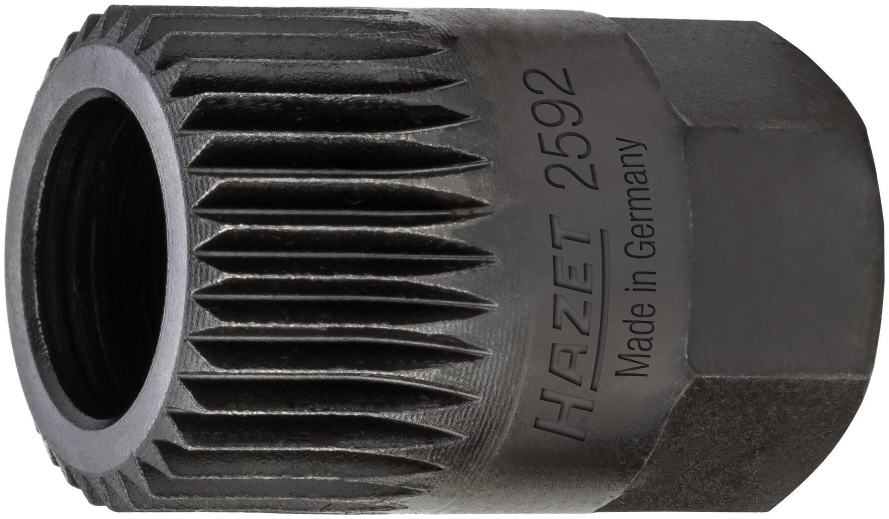 HAZET Keil(rippen)riemenscheibe-Adapter 2592 ∙ Außen-Sechskant 17 mm ∙ Vielzahn Profil ∙ 19.6 mm