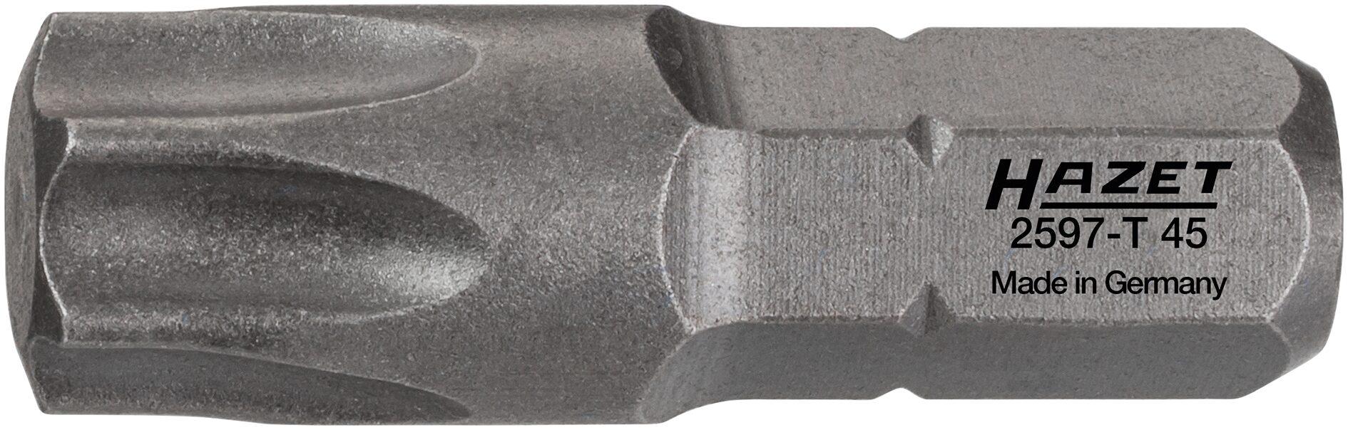 HAZET Bit 2597-T45 ∙ Sechskant massiv 6,3 (1/4 Zoll) ∙ Innen TORX® Profil ∙ T45
