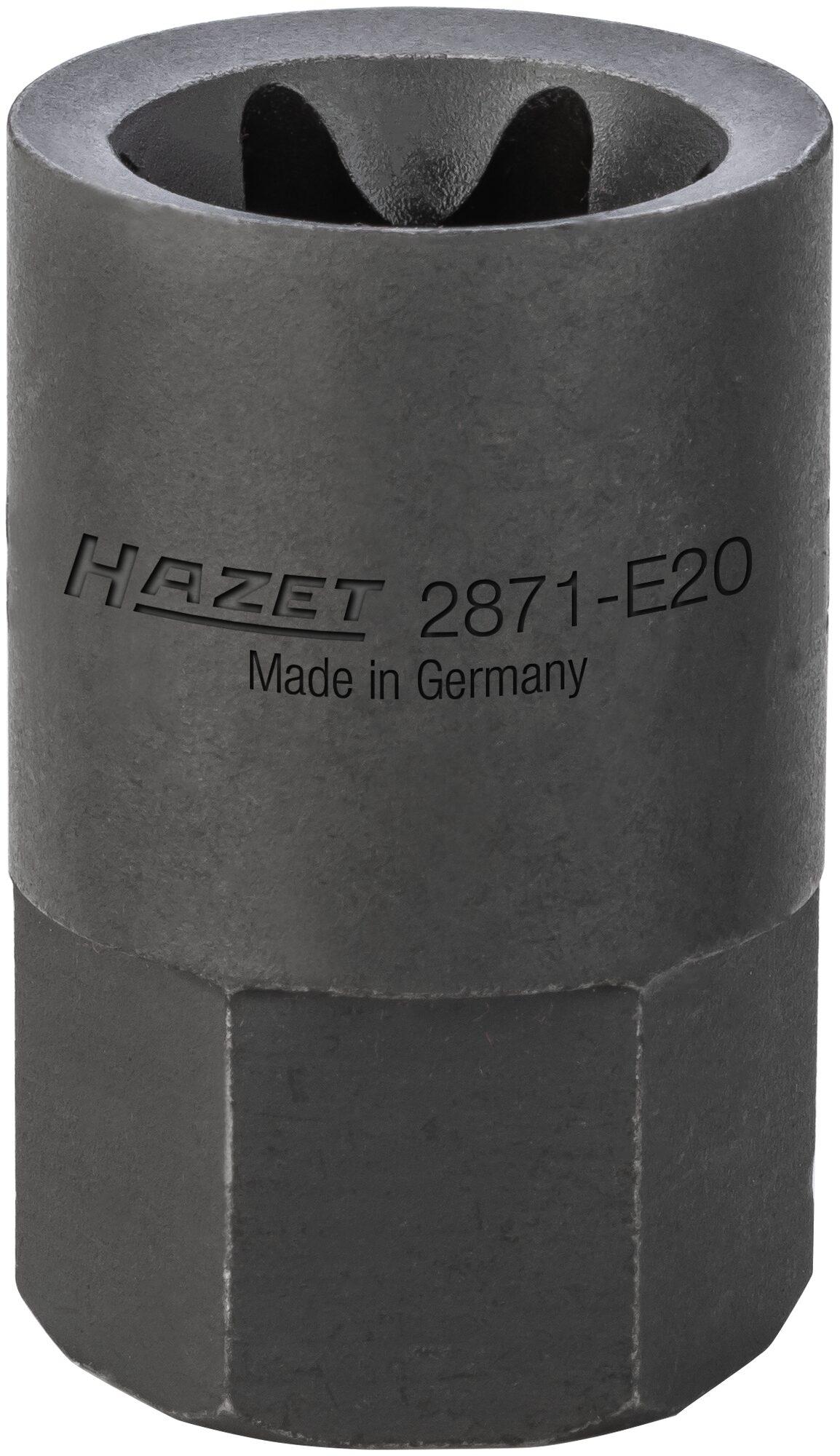 HAZET Bremssattel TORX® Einsatz 2871-E20 ∙ Außen-Sechskant 22 mm ∙ Außen TORX® Profil ∙ E20