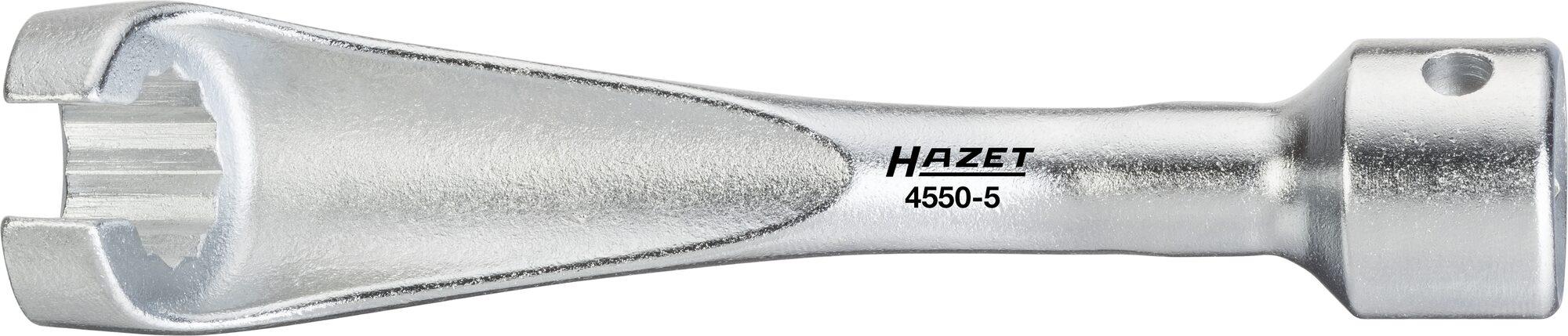 HAZET Einspritzleitungs-Schlüssel 4550-5 ∙ Vierkant hohl 12,5 mm (1/2 Zoll) ∙ Außen-Doppel-Sechskant Profil ∙ 14 mm