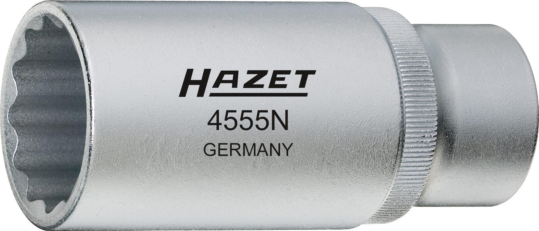 HAZET Einspritzdüsen Werkzeug 4555N ∙ Vierkant hohl 12,5 mm (1/2 Zoll) ∙ Außen-Doppel-Sechskant Profil ∙ 27 mm