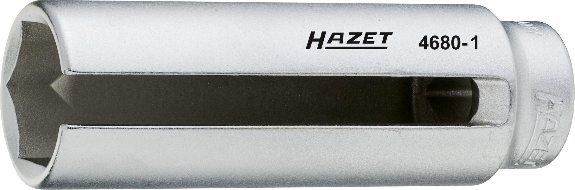 HAZET Lambda-Sonden Einsatz 4680-1 ∙ Vierkant hohl 12,5 mm (1/2 Zoll) ∙ Außen-Sechskant Profil ∙ 22 mm