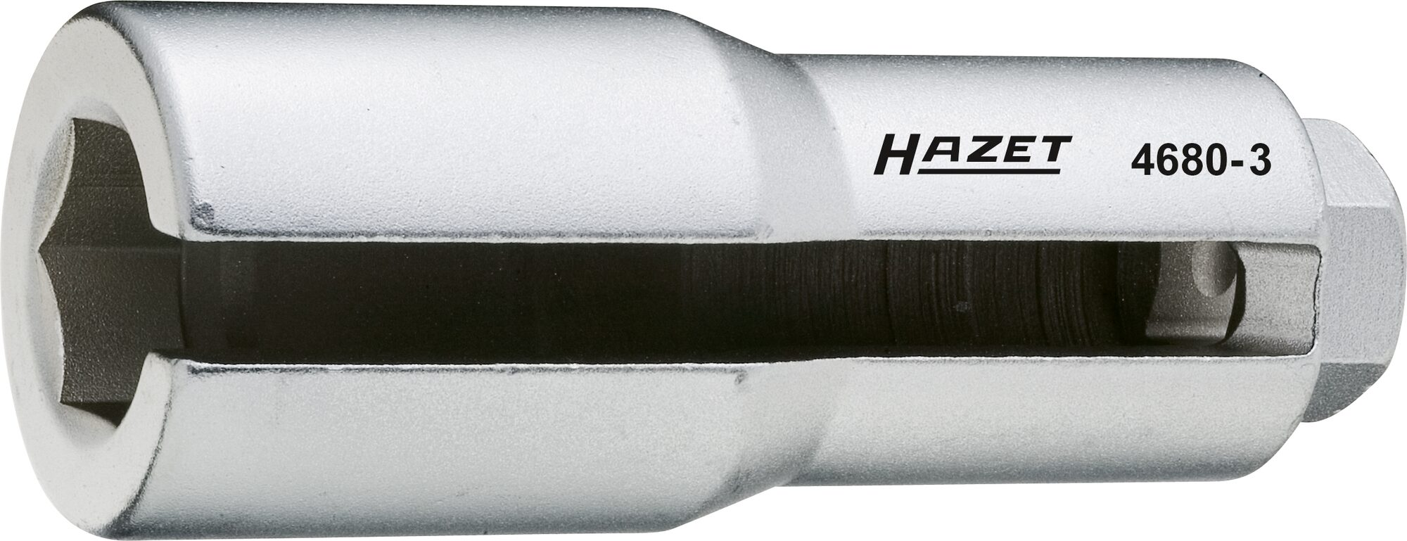 HAZET Lambda-Sonden Einsatz 4680-3 ∙ Vierkant hohl 12,5 mm (1/2 Zoll) ∙ Außen-Sechskant Profil ∙ 22 mm