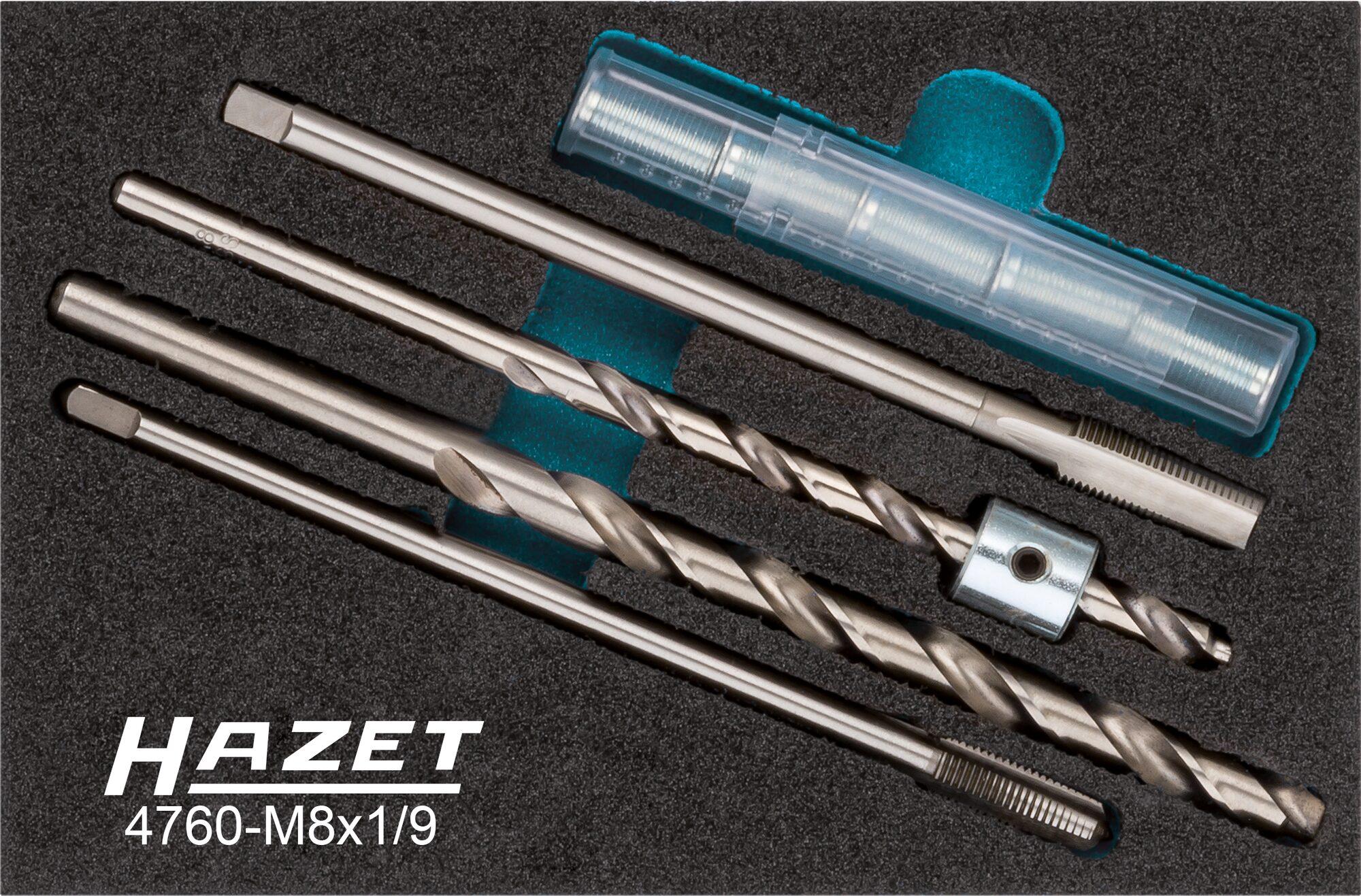 HAZET Glühkerzen Reparatur Satz 4760-M8X1/9 ∙ Anzahl Werkzeuge: 9