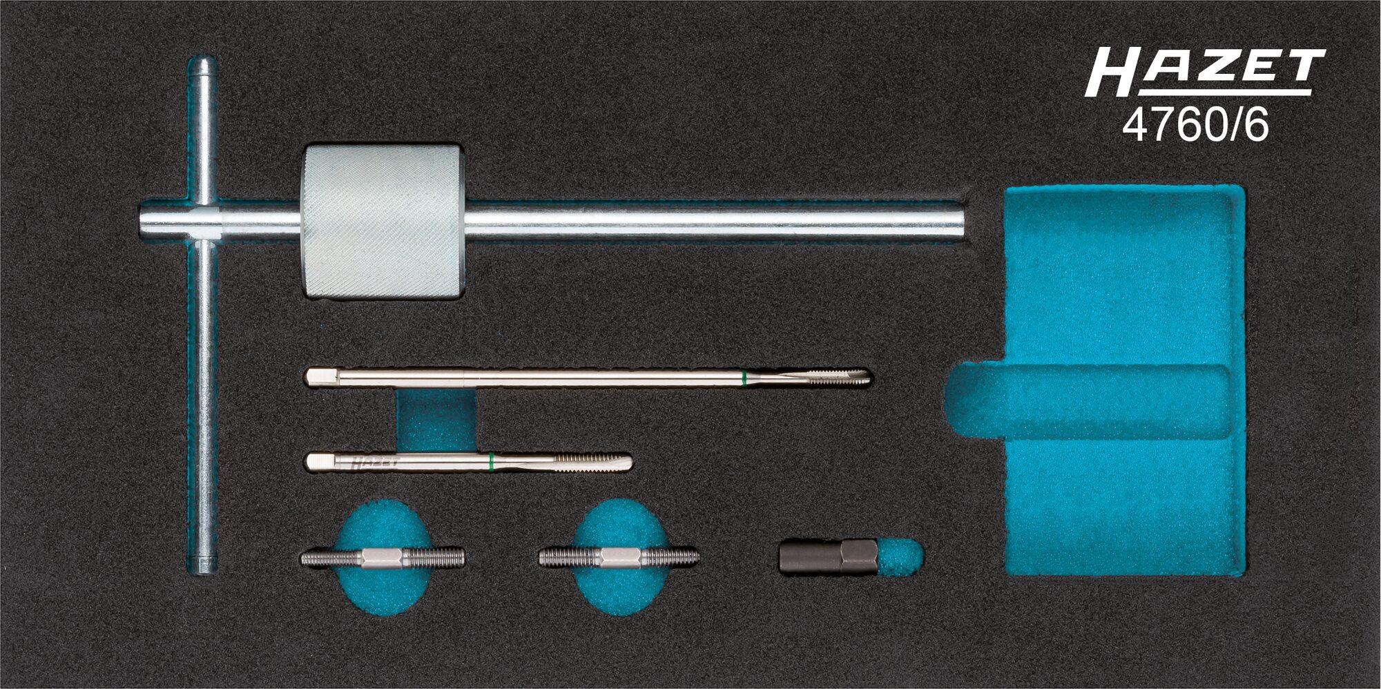 HAZET Glühkerzen Auszieher Satz 4760/6 ∙ Anzahl Werkzeuge: 6