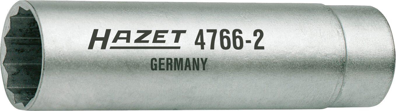 HAZET Zündkerzen-Schlüssel 4766-2 ∙ Vierkant hohl 10 mm (3/8 Zoll) ∙ Außen-Doppel-Sechskant Profil ∙ 14 mm
