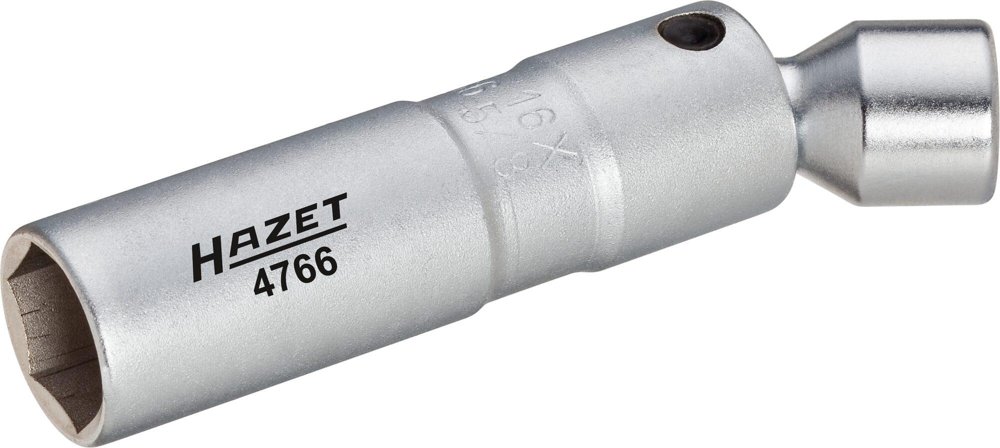 HAZET Zündkerzen-Schlüssel 4766 ∙ Vierkant hohl 10 mm (3/8 Zoll) ∙ Außen-Sechskant Profil ∙ 16 mm ∙ 5⁄8 ″