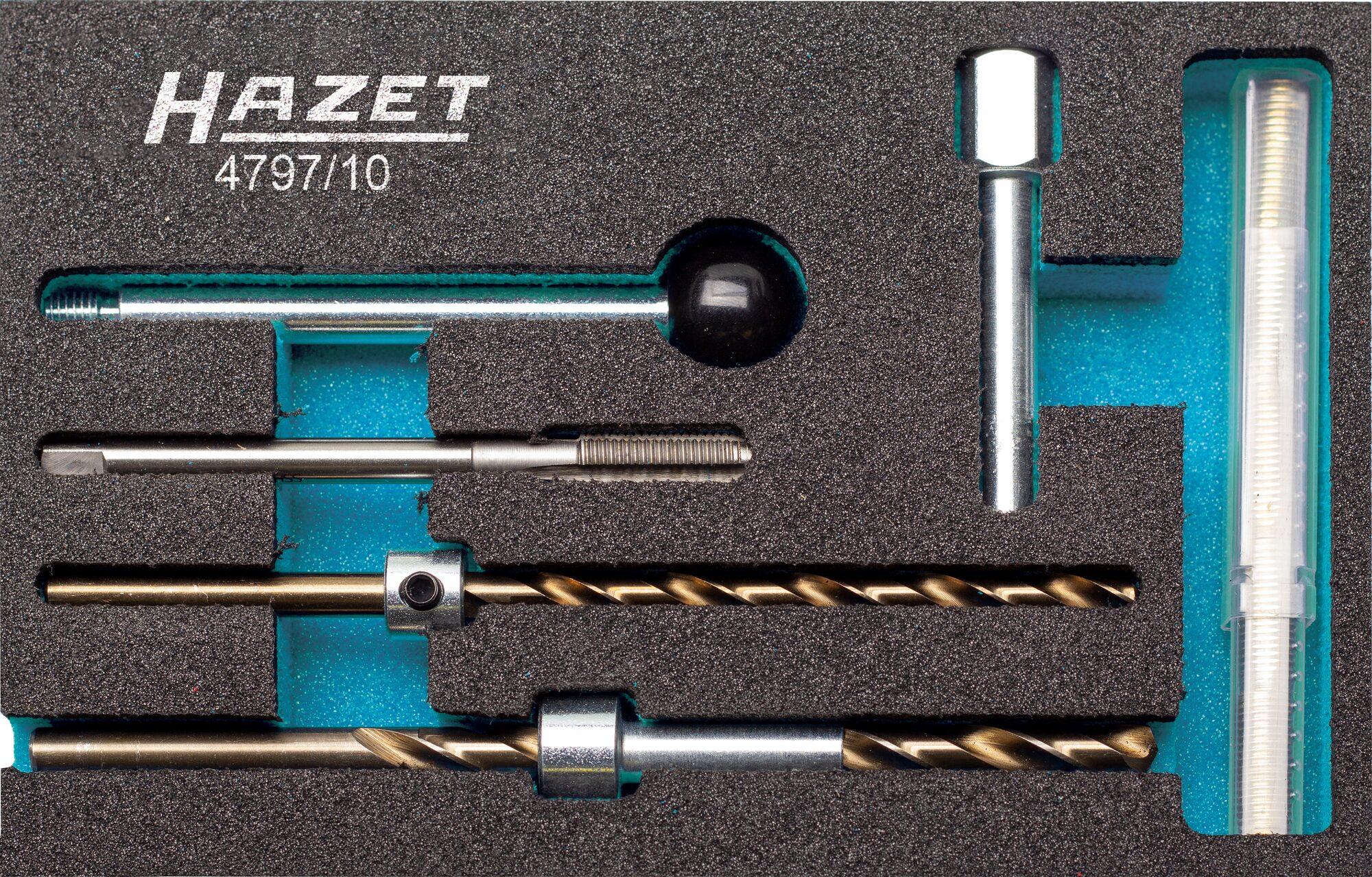 HAZET Gewinde-Reparatur Satz für Injektor-Befestigungsschraube 4797/10 ∙ Anzahl Werkzeuge: 10