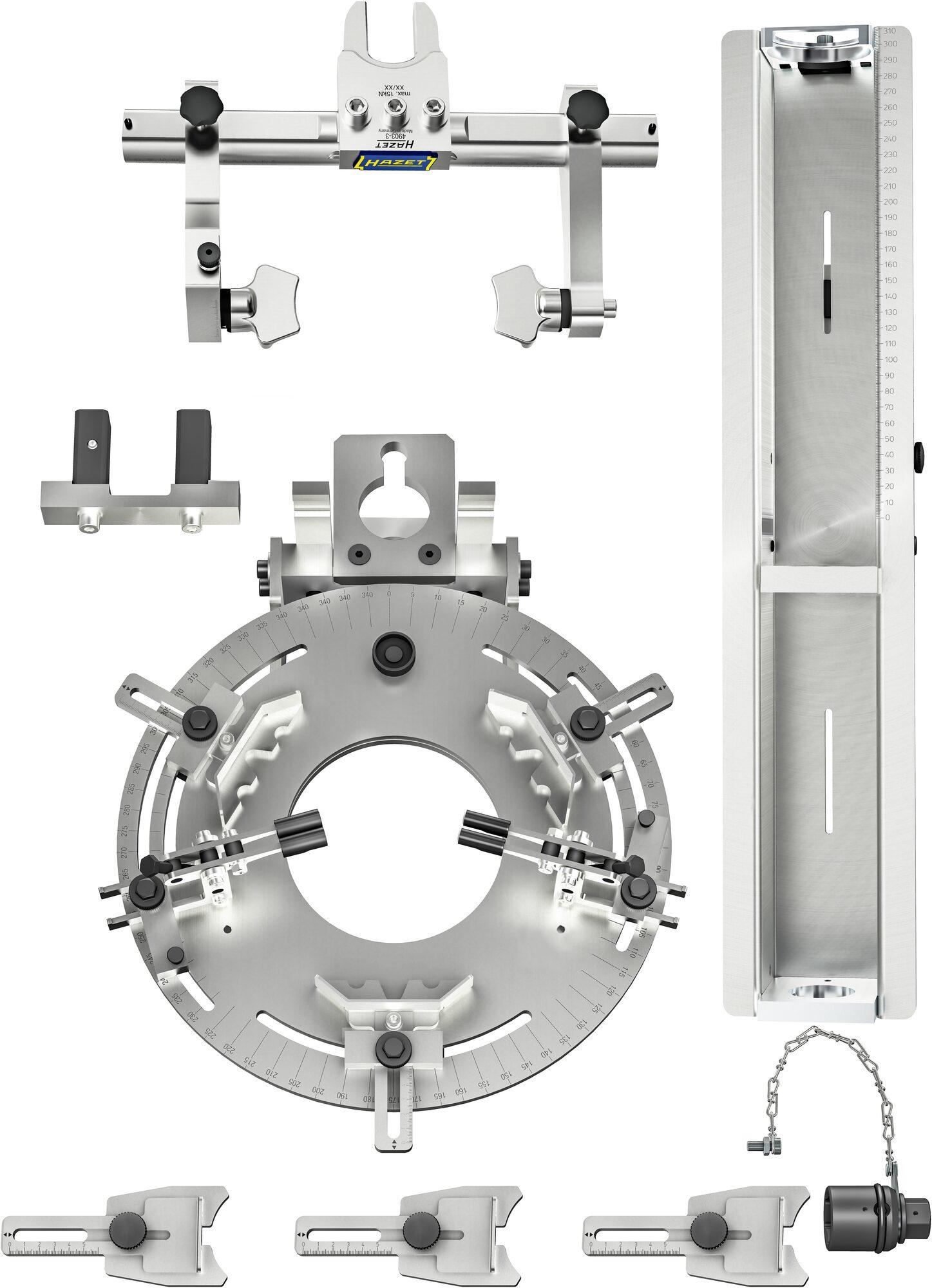 HAZET Stationärer Universal Federspanner ∙ 3-teilig 4903/3 ∙ Anzahl Werkzeuge: 3