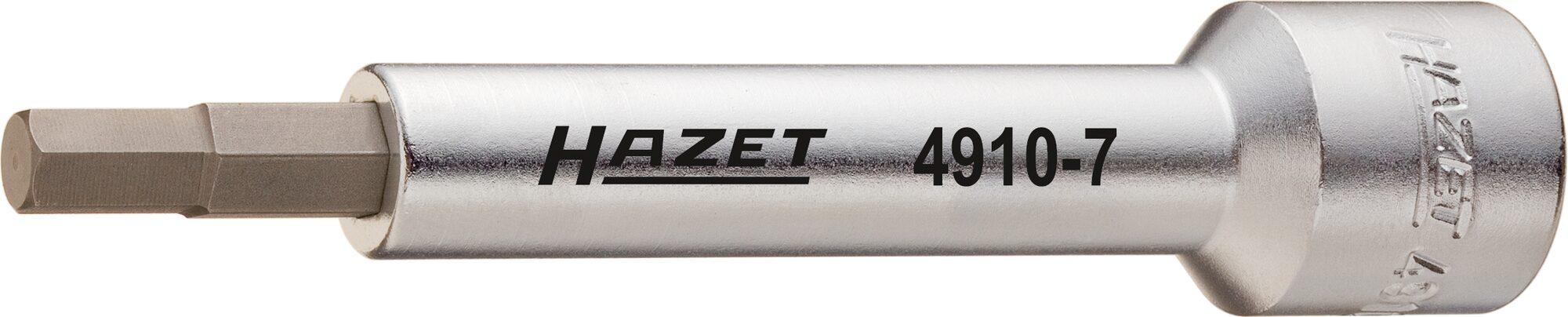 HAZET Verlängerung 4910-7 ∙ Vierkant hohl 12,5 mm (1/2 Zoll) ∙ Innen-Sechskant Profil ∙ 7 mm