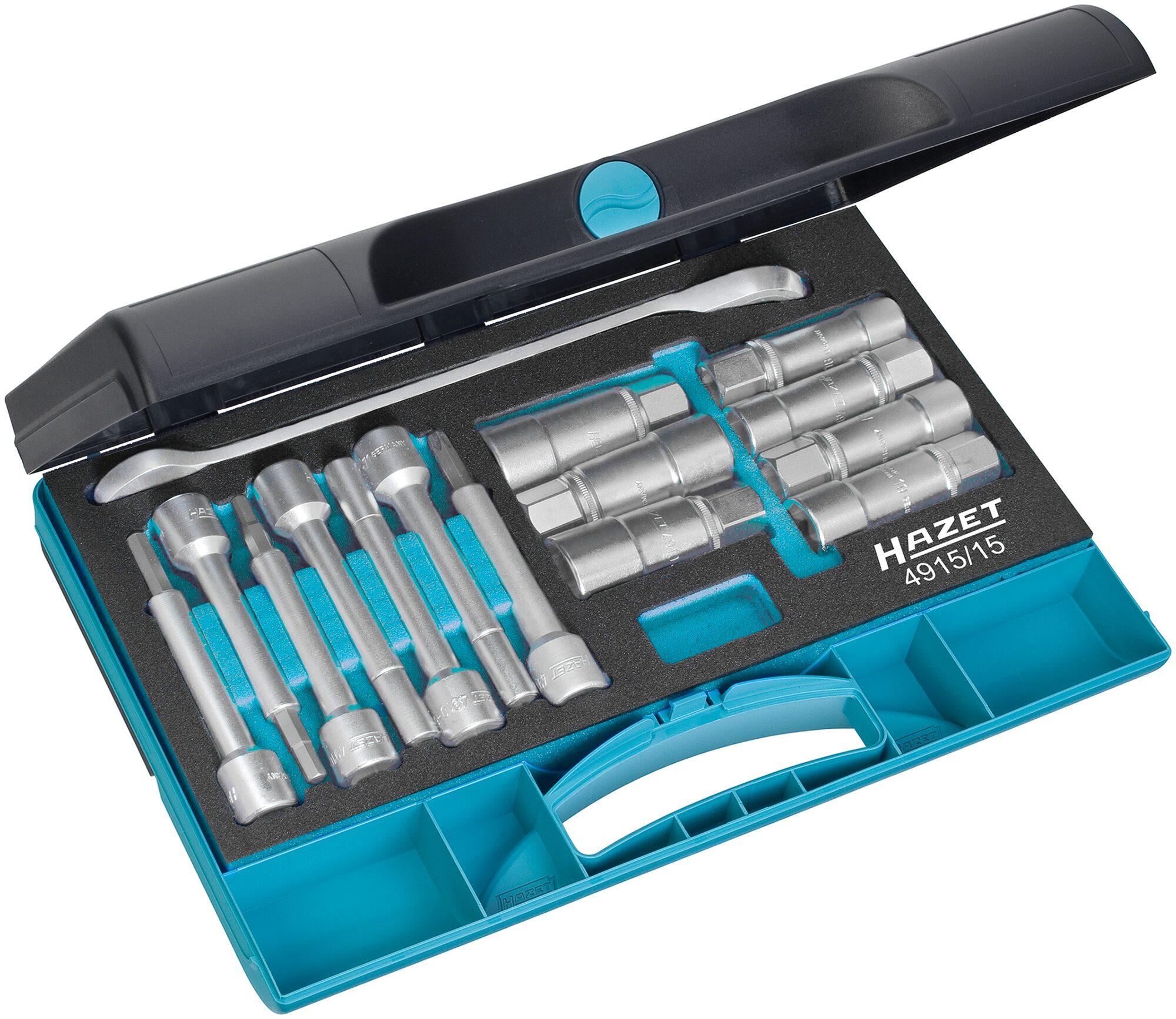 HAZET Stoßdämpfer-Werkzeug Satz 4915/15 ∙ Vierkant hohl 12,5 mm (1/2 Zoll) ∙ Anzahl Werkzeuge: 15