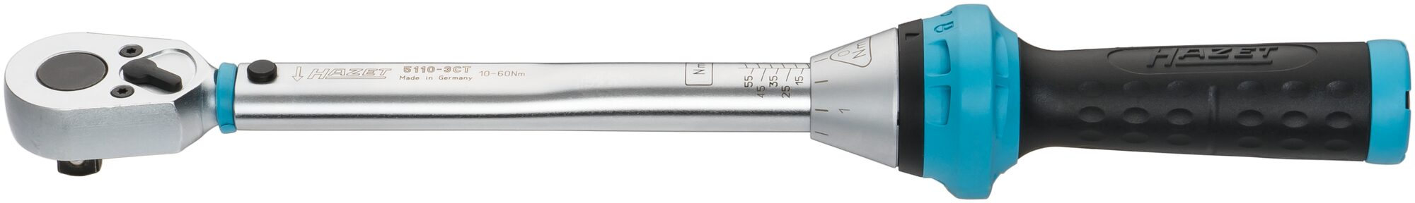 HAZET Drehmoment-Schlüssel 5110-3CT ∙ Nm min-max: 10–60 Nm ∙ Toleranz: 3% ∙ Vierkant massiv 10 mm (3/8 Zoll)
