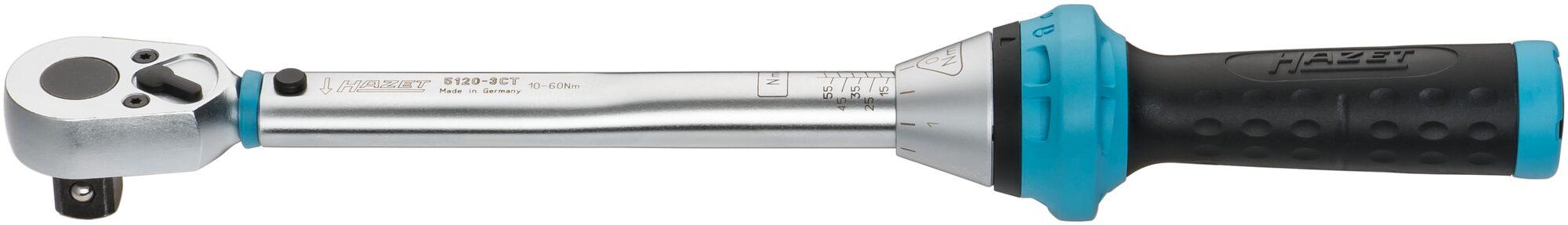 HAZET Drehmoment-Schlüssel 5120-3CT ∙ Nm min-max: 10–60 Nm ∙ Toleranz: 3% ∙ Vierkant massiv 12,5 mm (1/2 Zoll)