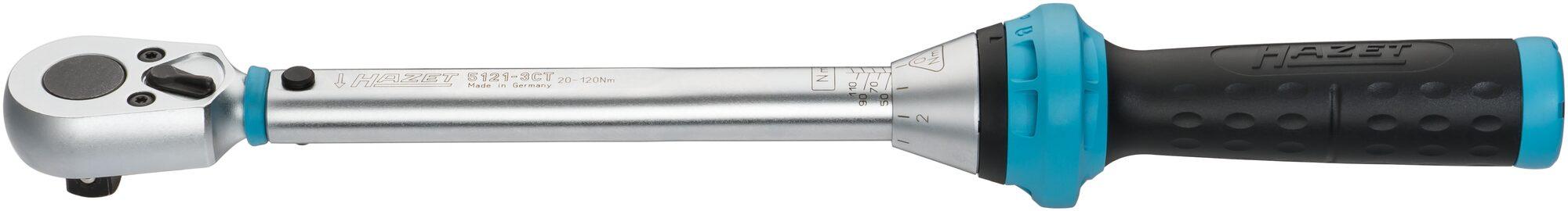 HAZET Drehmoment-Schlüssel 5121-3CT ∙ Nm min-max: 20–120 Nm ∙ Toleranz: 3% ∙ Vierkant massiv 12,5 mm (1/2 Zoll)