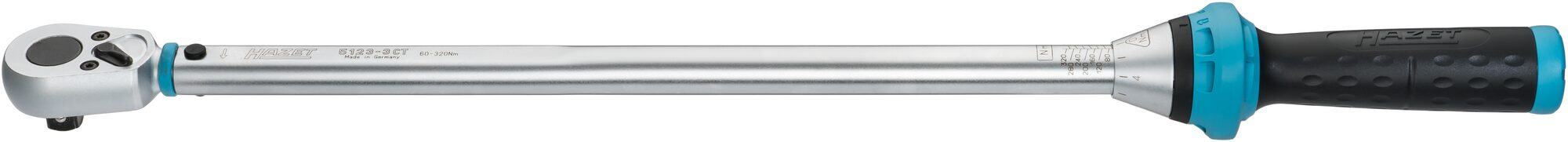 HAZET Drehmoment-Schlüssel 5123-3CT ∙ Nm min-max: 60–320 Nm ∙ Toleranz: 3% ∙ Vierkant massiv 12,5 mm (1/2 Zoll)