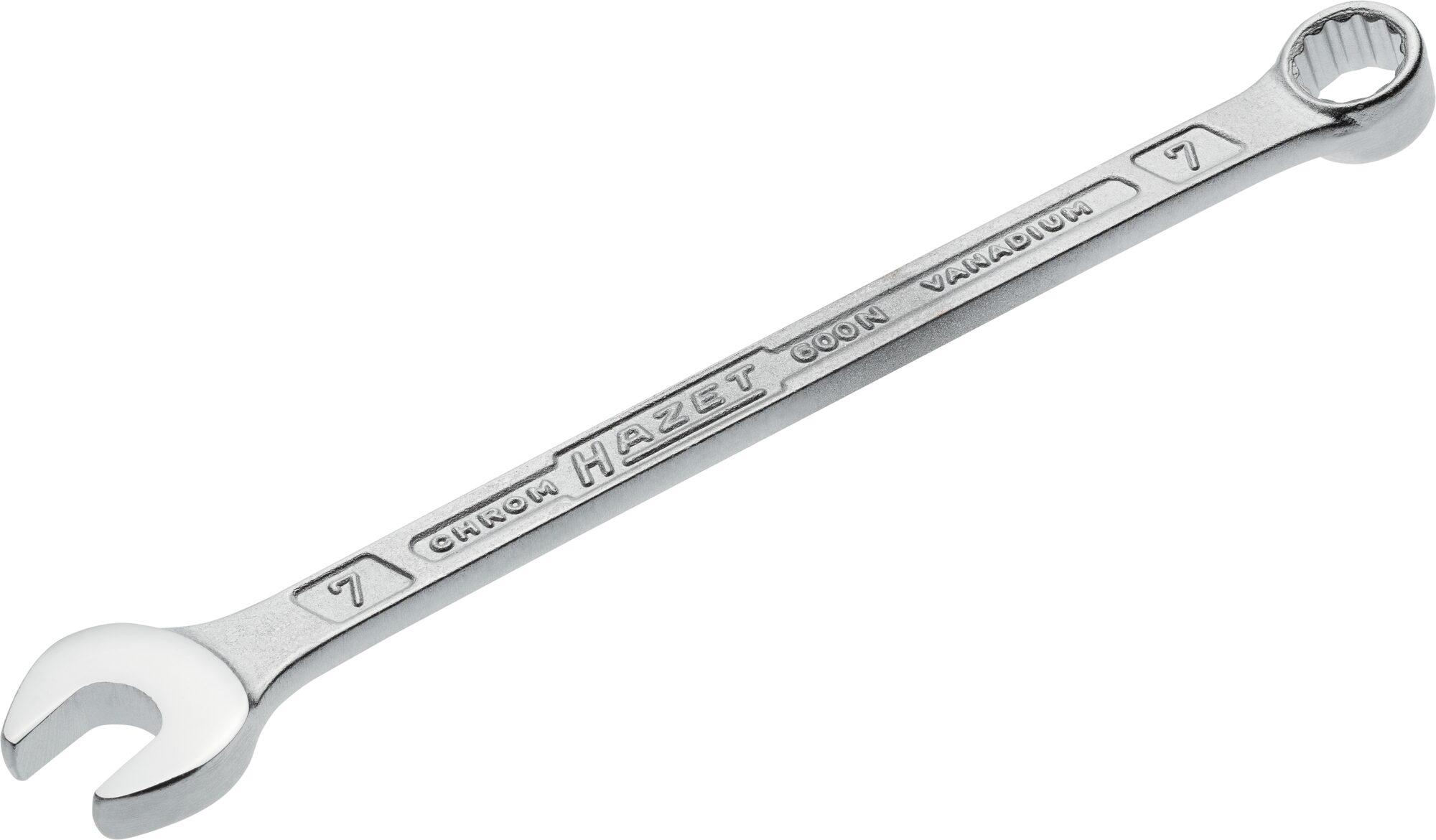 HAZET Ring-Maulschlüssel 600N-7 ∙ Außen-Doppel-Sechskant-Tractionsprofil ∙ 7 mm