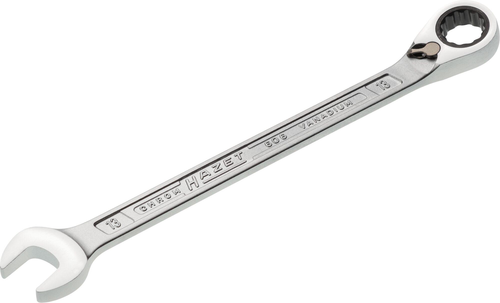 HAZET Knarren Ring-Maulschlüssel 606-13 ∙ Außen-Doppel-Sechskant-Tractionsprofil ∙ 13 mm