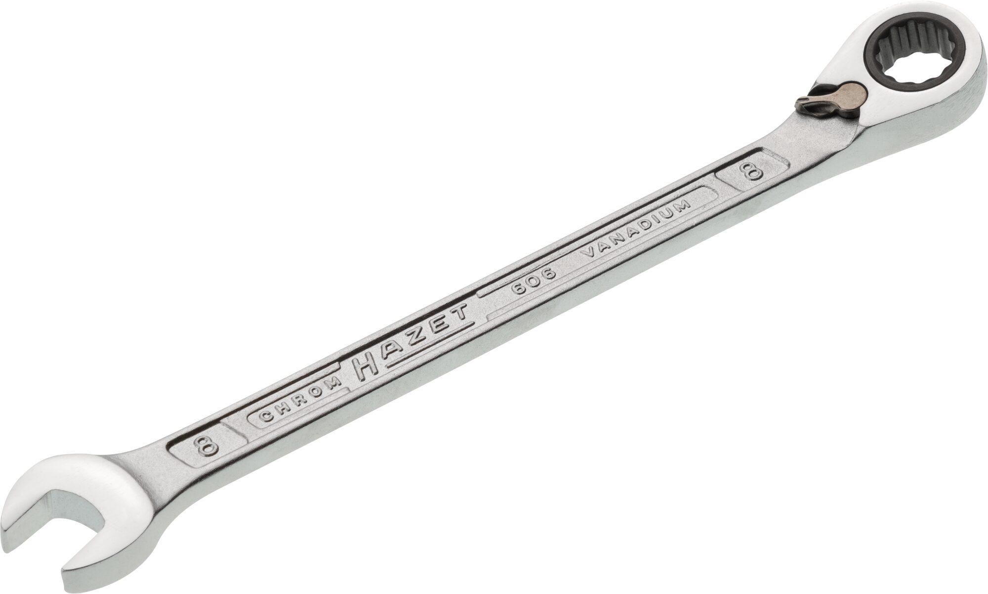 HAZET Knarren Ring-Maulschlüssel 606-8 ∙ Außen-Doppel-Sechskant-Tractionsprofil ∙ 8 mm
