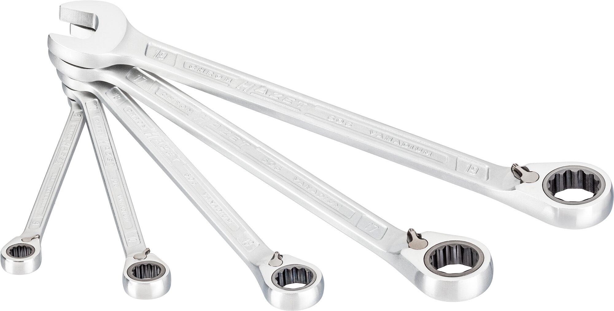 HAZET Knarren Ring-Maulschlüssel Satz 606/5 ∙ Außen-Doppel-Sechskant-Tractionsprofil ∙ 8–19 ∙ Anzahl Werkzeuge: 5