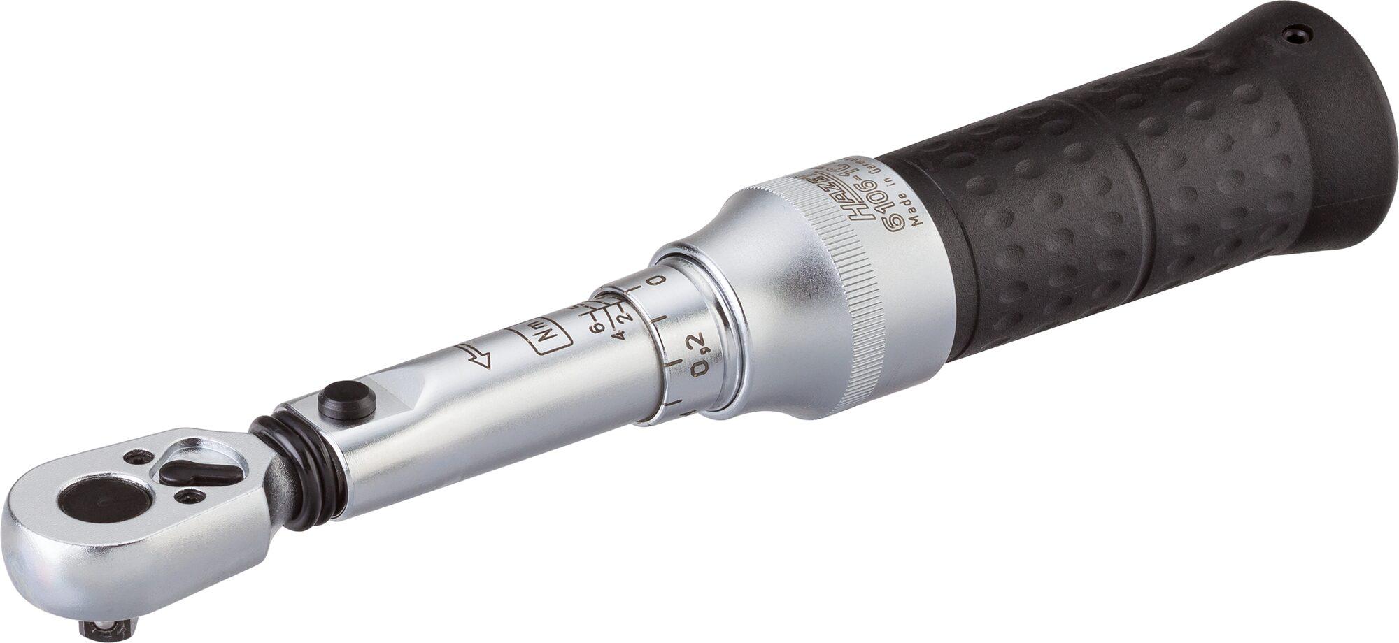 HAZET Drehmoment-Schlüssel 6106-1CTCAL ∙ Nm min-max: 1–6 Nm ∙ Toleranz: 4% ∙ Vierkant massiv 6,3 mm (1/4 Zoll)