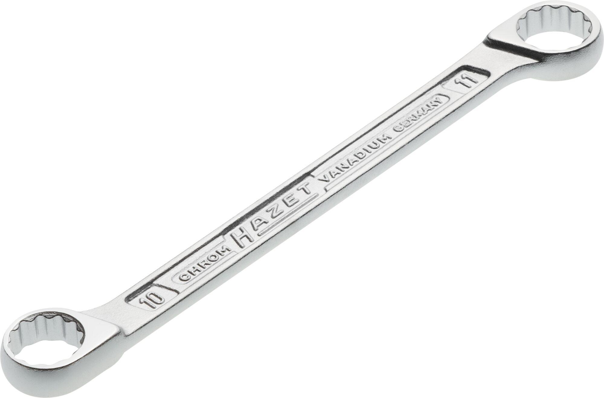 HAZET Doppel-Ringschlüssel 610N-10X11 ∙ Außen-Doppel-Sechskant-Tractionsprofil ∙ 10 x 11 mm