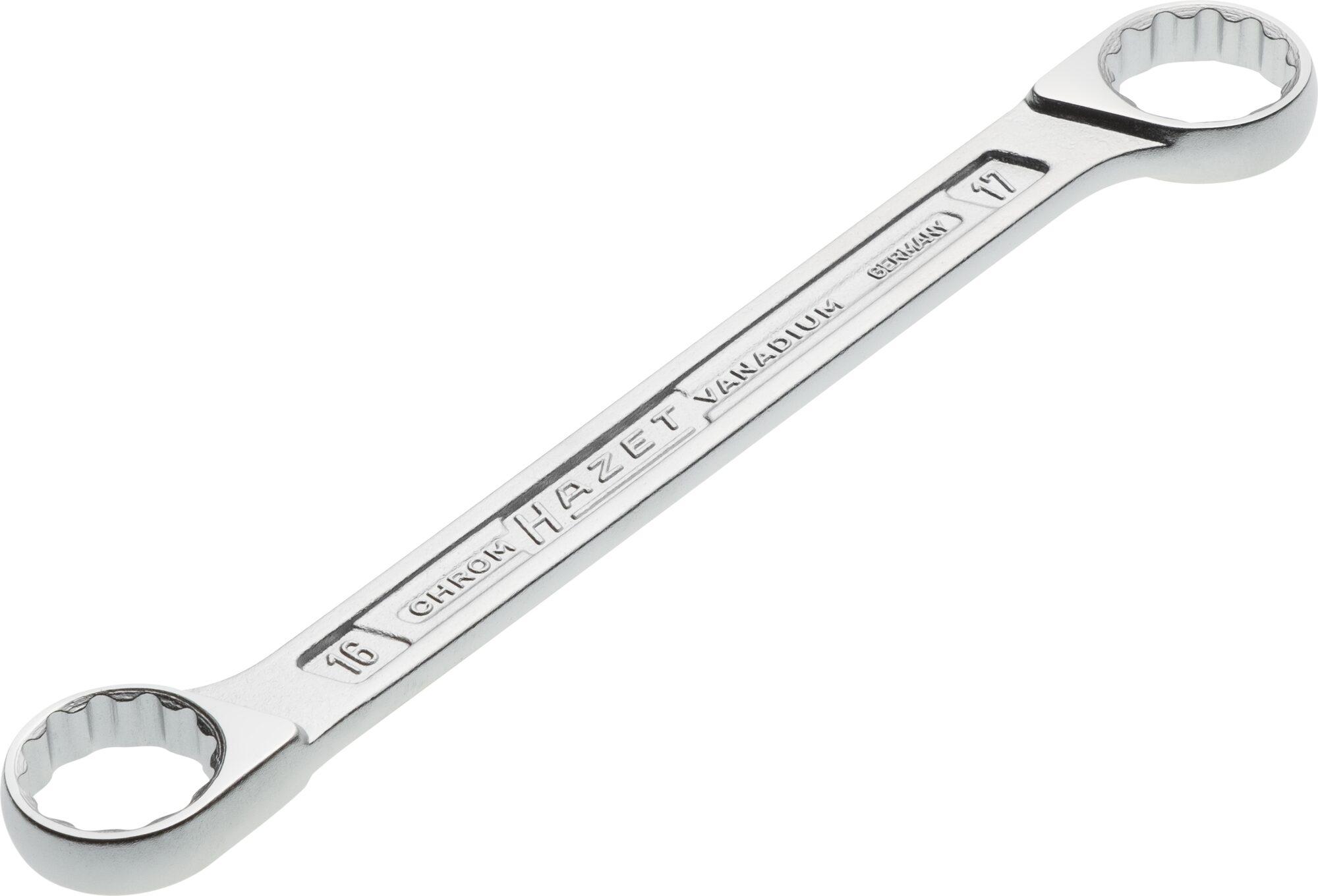 HAZET Doppel-Ringschlüssel 610N-16X17 ∙ Außen-Doppel-Sechskant-Tractionsprofil ∙ 16 x 17 mm