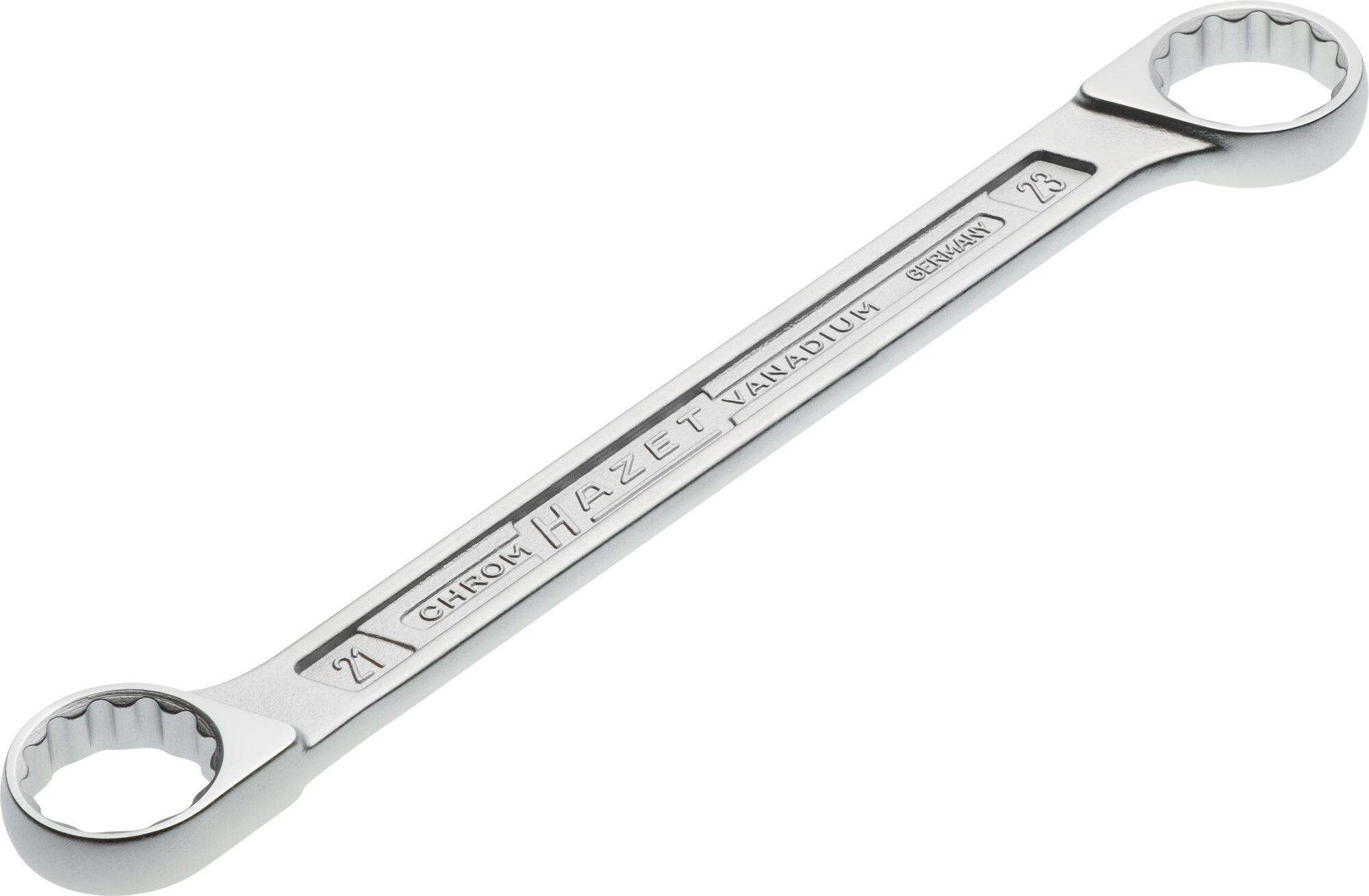 HAZET Doppel-Ringschlüssel 610N-21X23 ∙ Außen-Doppel-Sechskant-Tractionsprofil ∙ 21 x 23 mm