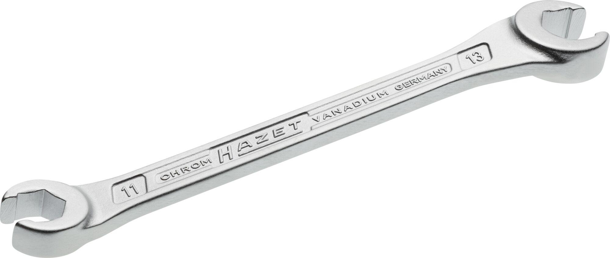 HAZET Doppel-Ringschlüssel ∙ offen 612-11X13 ∙ Außen-Sechskant Profil ∙ 11 x 13 mm
