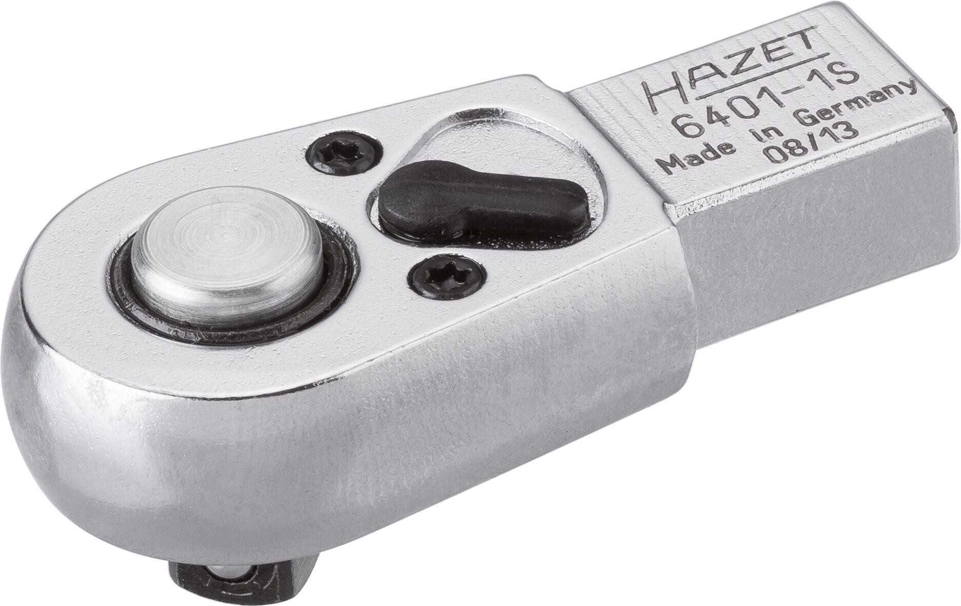 HAZET Einsteck-Umschaltknarre 6401-1S ∙ Einsteck-Vierkant 9 x 12 mm ∙ Vierkant massiv 6,3 mm (1/4 Zoll)
