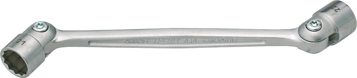 HAZET Doppel-Gelenksteckschlüssel 645-14X15 ∙ Außen-Doppel-Sechskant Profil ∙ 14 x 15 mm