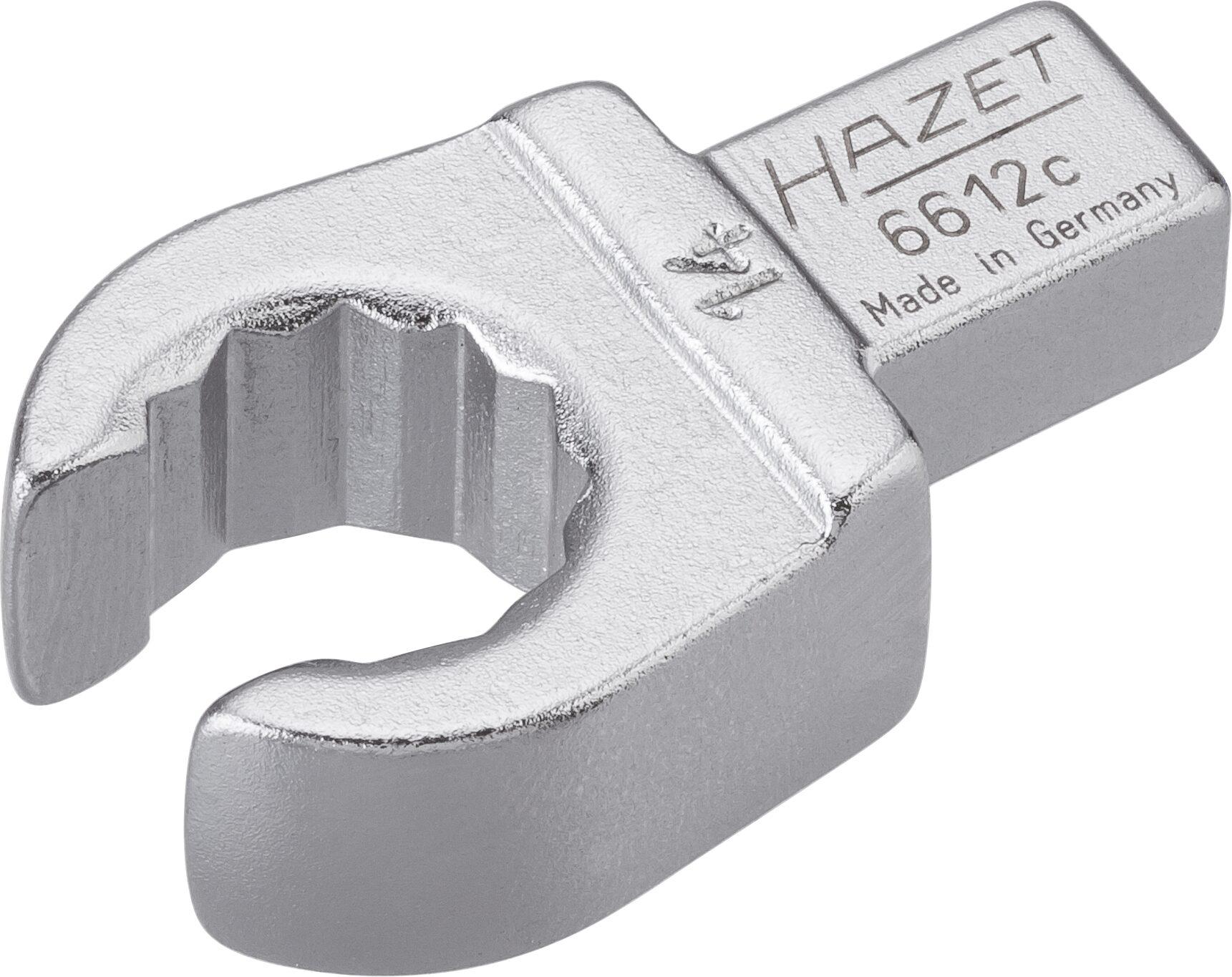 HAZET Einsteck-Ringschlüssel ∙ offen 6612C-14 ∙ Einsteck-Vierkant 9 x 12 mm ∙ Außen-Doppel-Sechskant Profil ∙ 14 mm