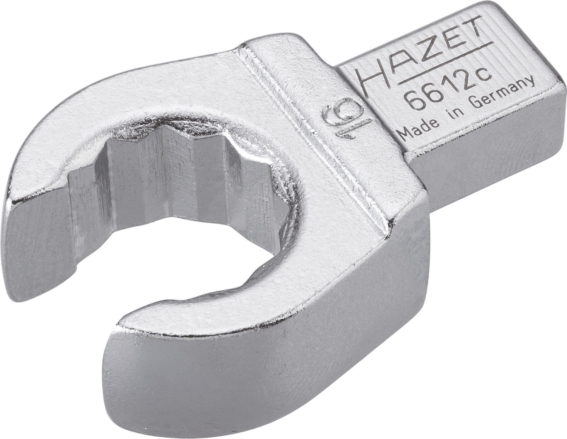 HAZET Einsteck-Ringschlüssel ∙ offen 6612C-16 ∙ Einsteck-Vierkant 9 x 12 mm ∙ Außen-Doppel-Sechskant Profil ∙ 16 mm