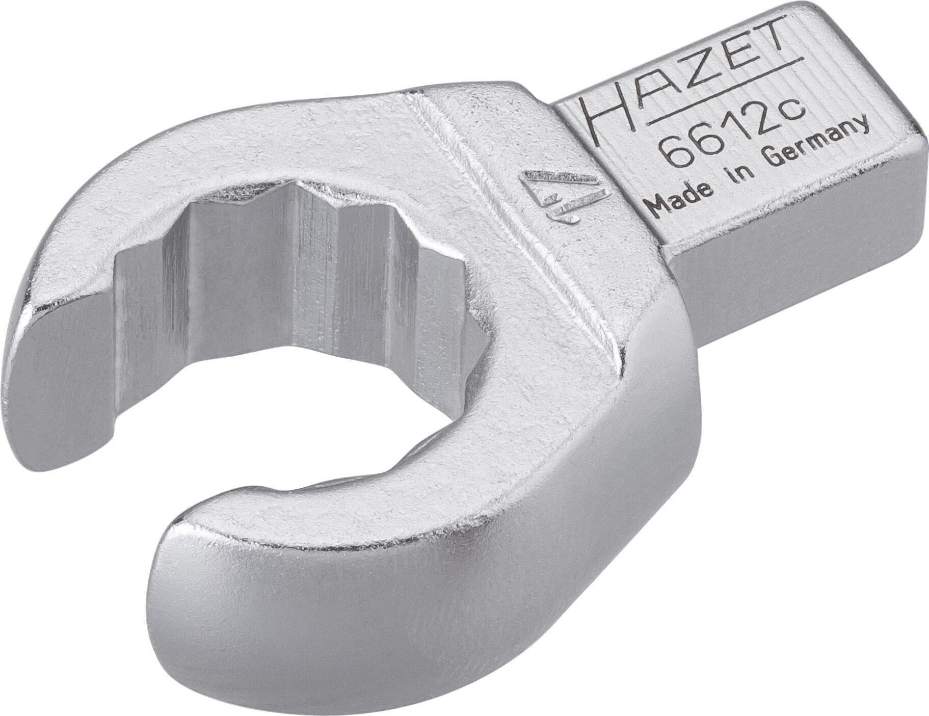 HAZET Einsteck-Ringschlüssel ∙ offen 6612C-17 ∙ Einsteck-Vierkant 9 x 12 mm ∙ Außen-Doppel-Sechskant Profil ∙ 17 mm