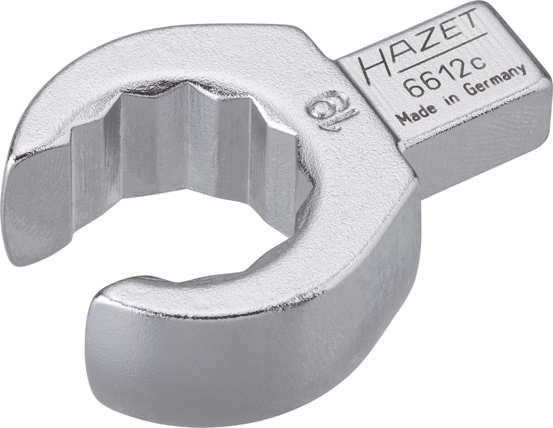 HAZET Einsteck-Ringschlüssel ∙ offen 6612C-19 ∙ Einsteck-Vierkant 9 x 12 mm ∙ Außen-Doppel-Sechskant Profil ∙ 19 mm