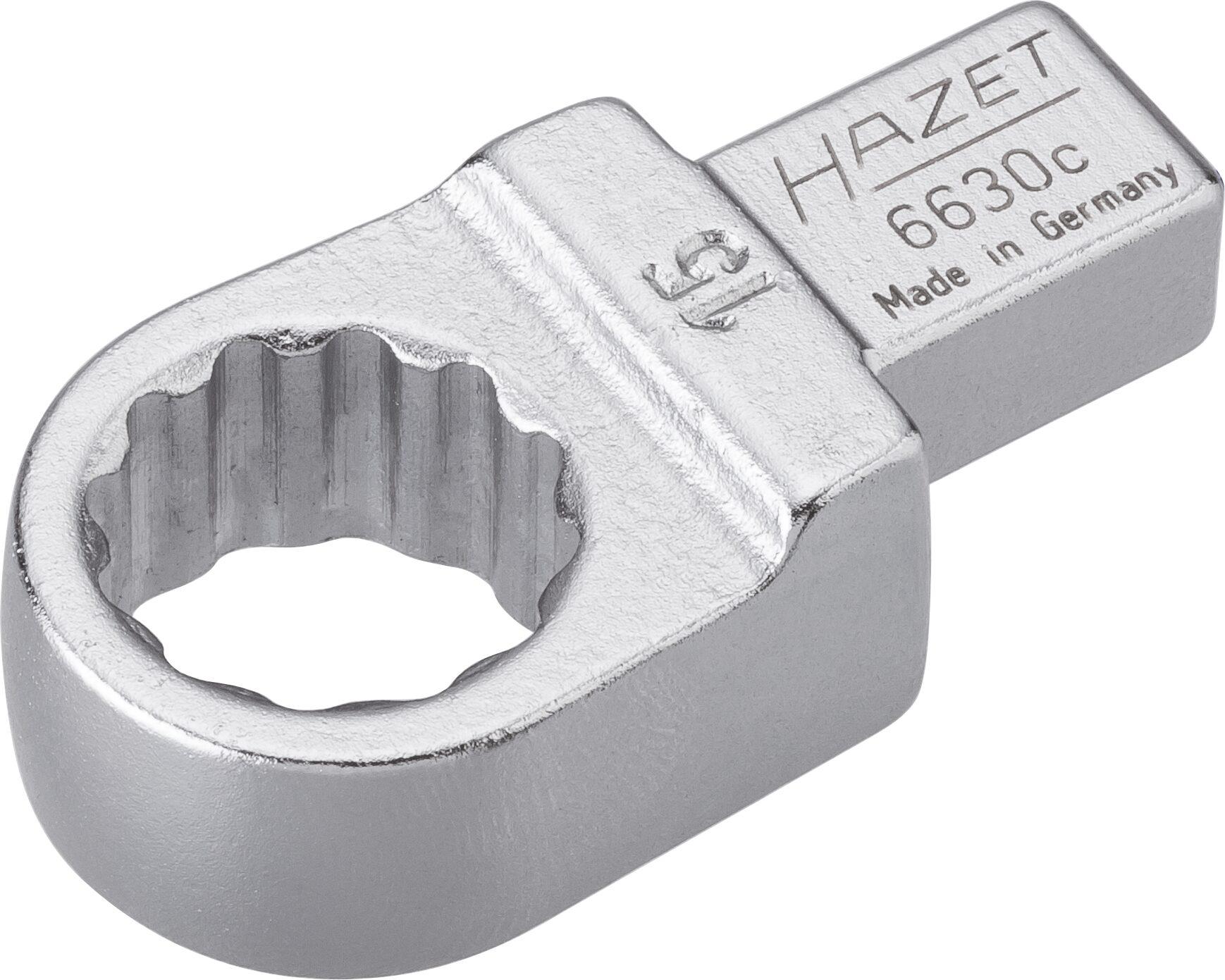 HAZET Einsteck-Ringschlüssel 6630C-15 ∙ Einsteck-Vierkant 9 x 12 mm ∙ Außen-Doppel-Sechskant-Tractionsprofil ∙ 15 mm