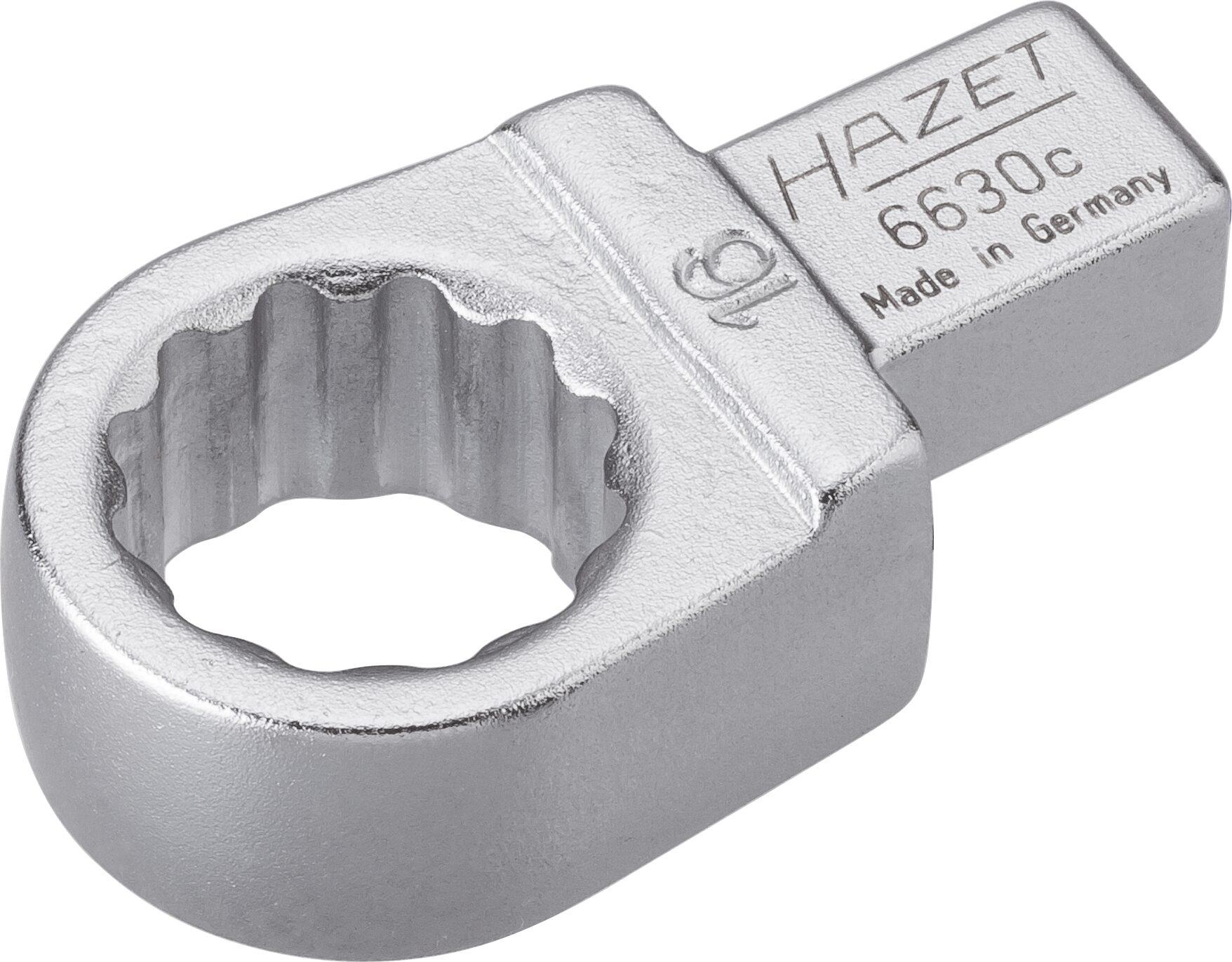 HAZET Einsteck-Ringschlüssel 6630C-16 ∙ Einsteck-Vierkant 9 x 12 mm ∙ Außen-Doppel-Sechskant-Tractionsprofil ∙ 16 mm