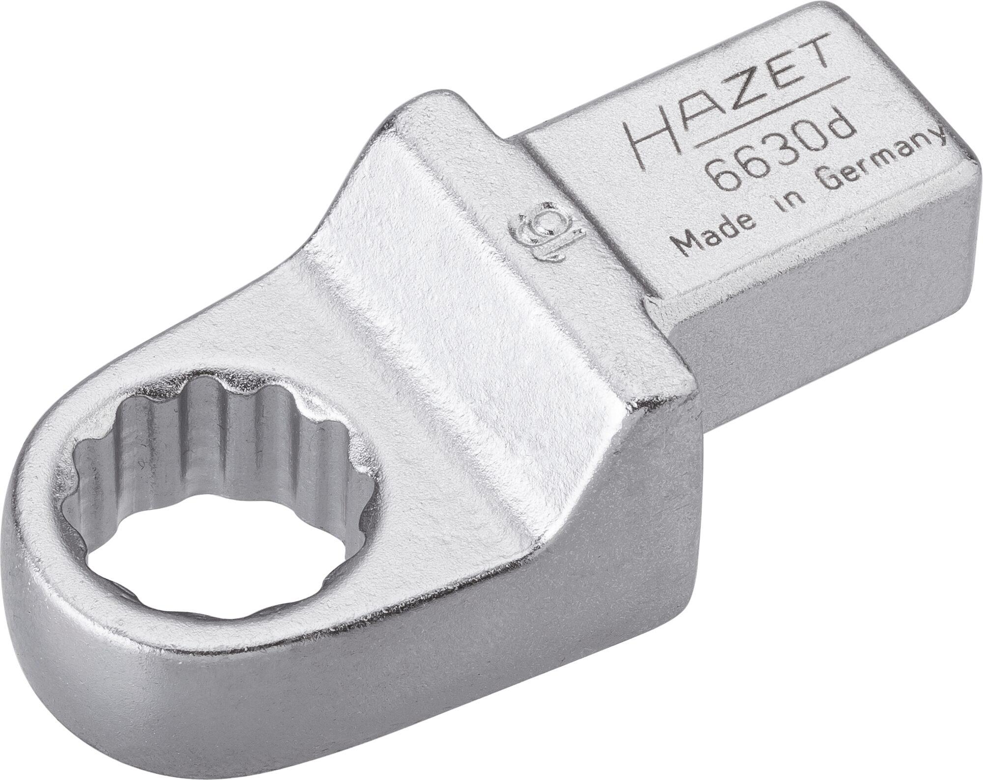 HAZET Einsteck-Ringschlüssel 6630D-16 ∙ Einsteck-Vierkant 14 x 18 mm ∙ Außen-Doppel-Sechskant-Tractionsprofil ∙ 16 mm