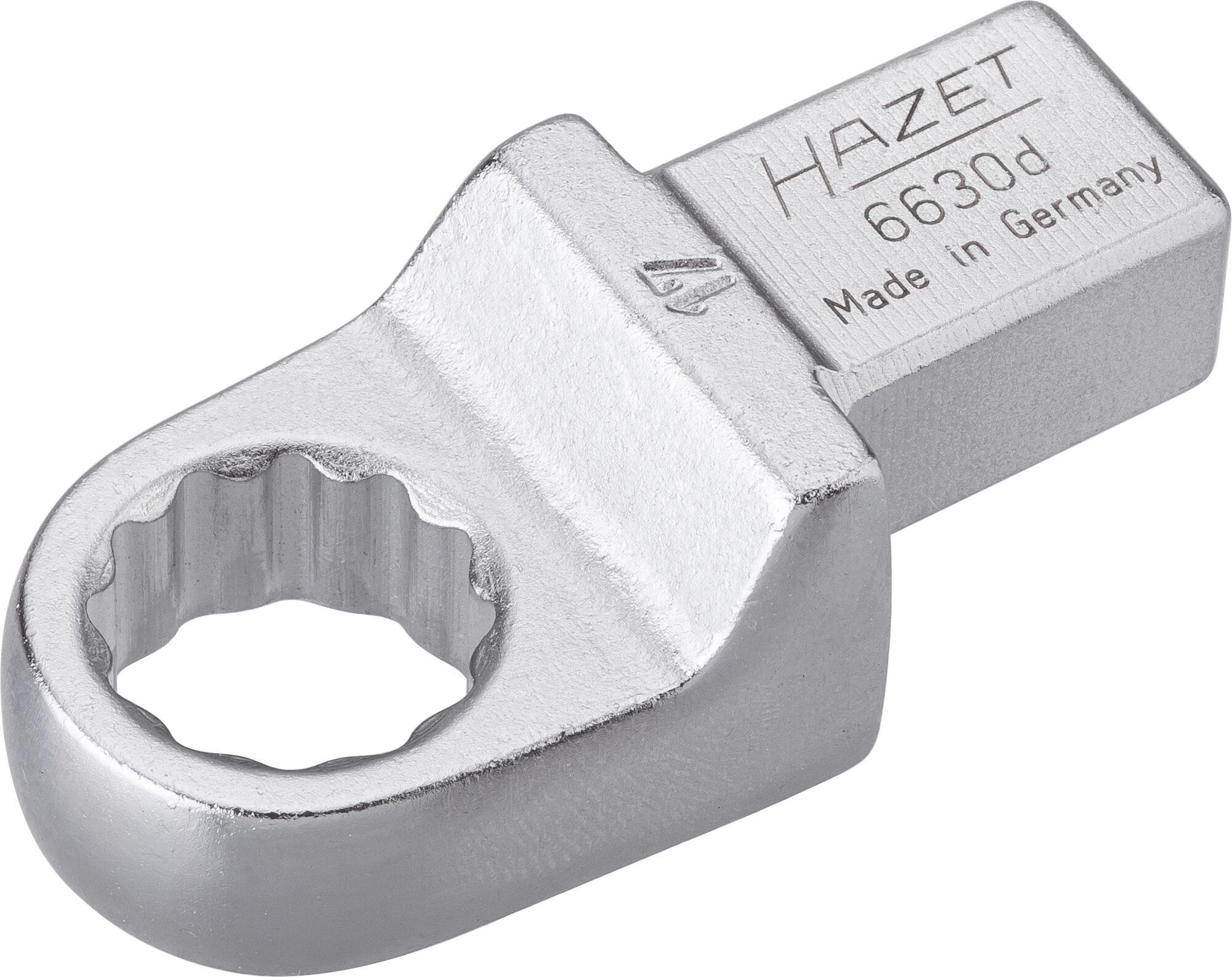 HAZET Einsteck-Ringschlüssel 6630D-17 ∙ Einsteck-Vierkant 14 x 18 mm ∙ Außen-Doppel-Sechskant-Tractionsprofil ∙ 17 mm